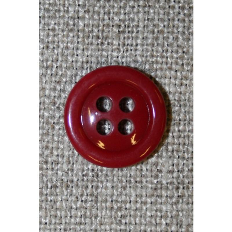 4-huls knap mørk rød 13 mm.