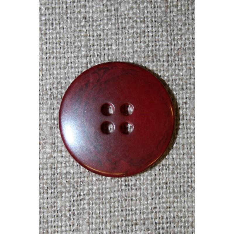 Mørk rød meleret 4-huls knap, 20 mm.-35