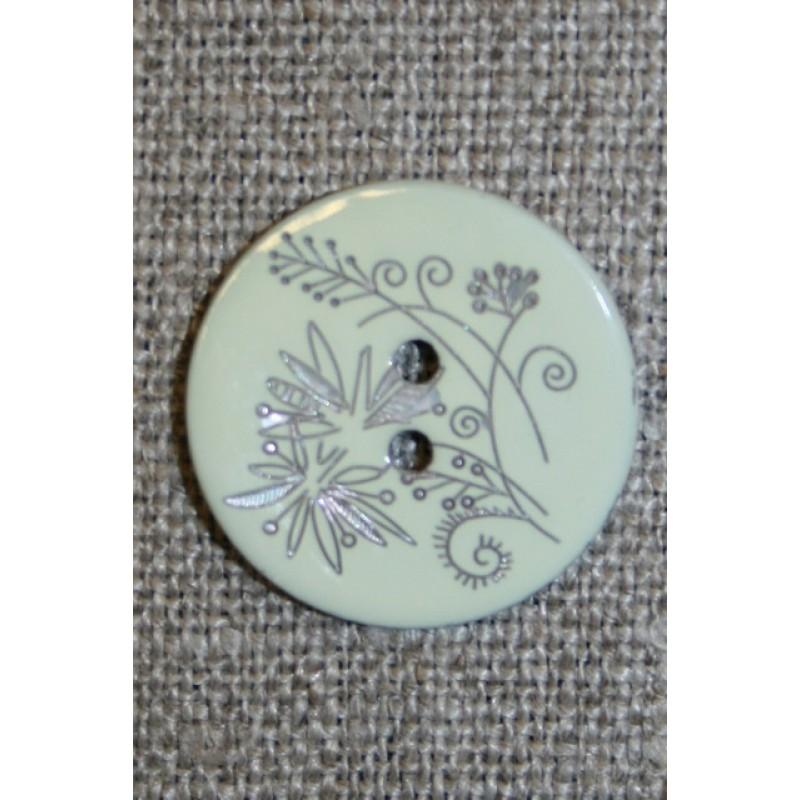 Perlemors-knap m/blomst, babylysegrøn-35