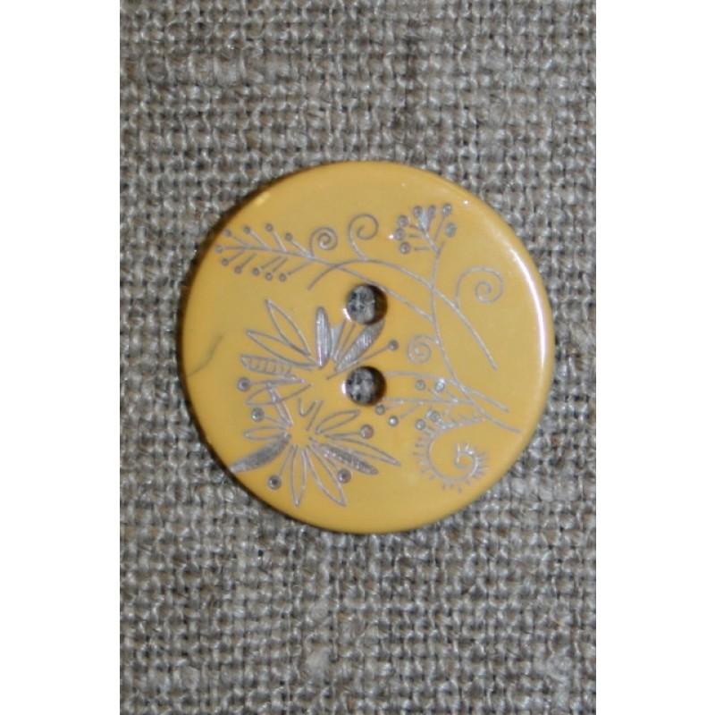 Perlemors-knap m/blomst, lysegul