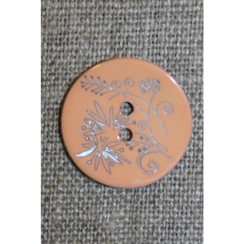 Perlemors-knap m/blomst, lys laks