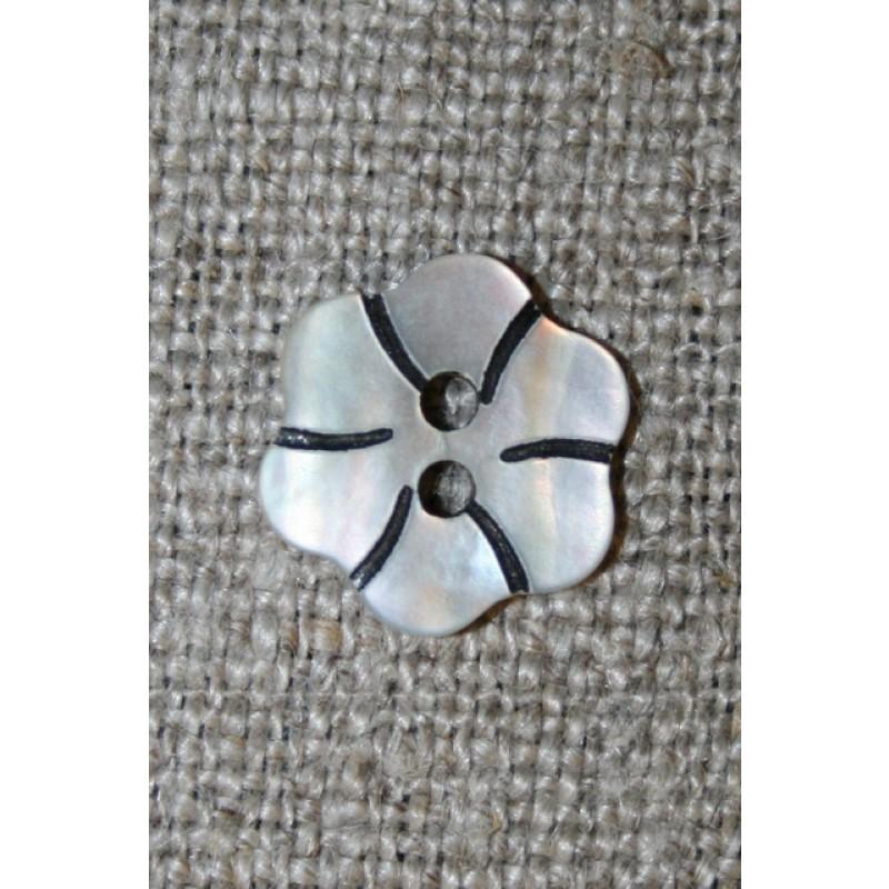 Perlemorsknap lys/natur m/blomst 13 mm.-35