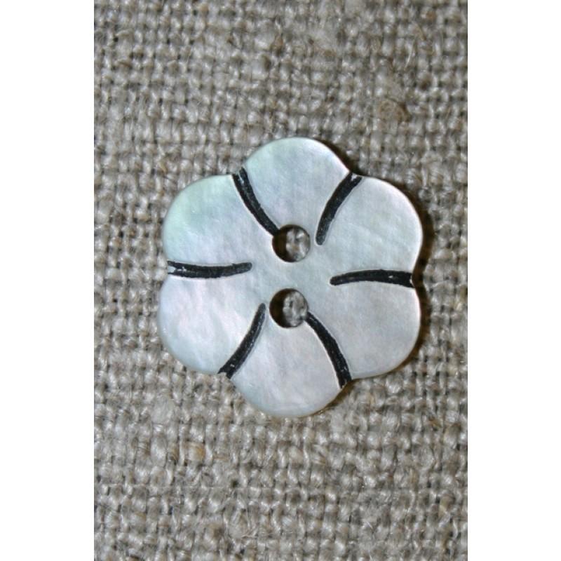 Perlemorsknap lys/natur m/blomst 15 mm.-35