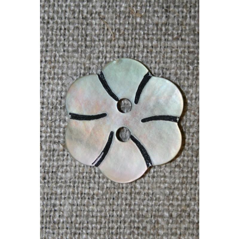 Perlemorsknap lys/natur m/blomst 20 mm.-35