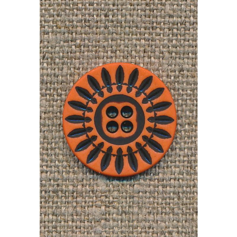 4-huls knap orange m/sorte streger, 20 mm.-35