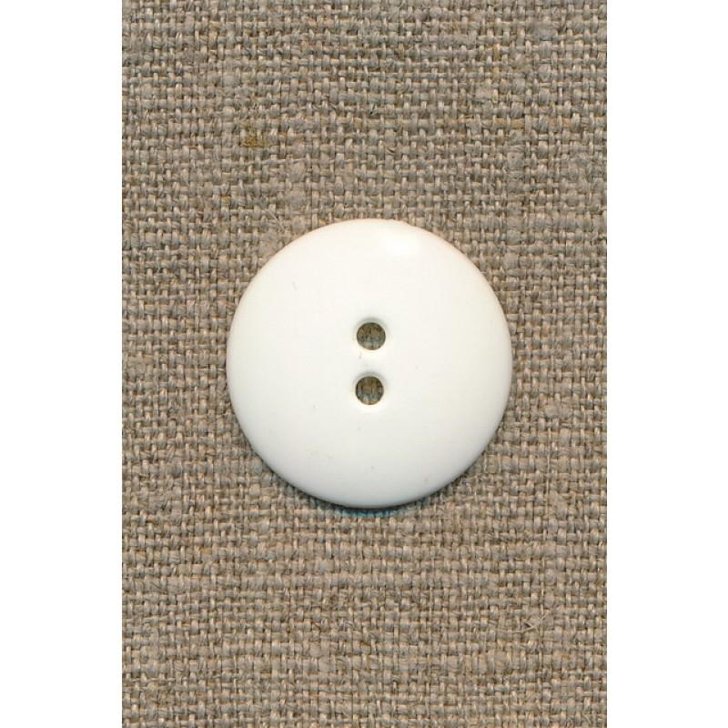 2-huls knap knækket hvid 25 mm.