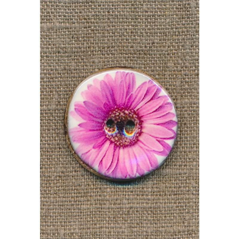 Kokos-knap m/emalje, hvid m/lyserød blomst, 34 mm.-35