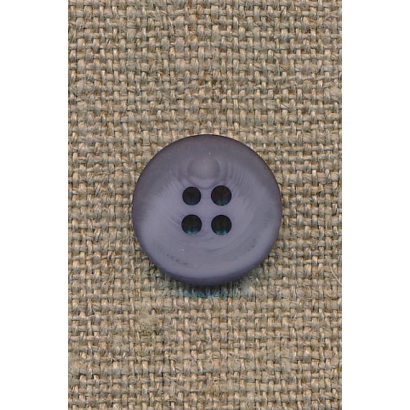 4-huls knap grå-meleret 15 mm.-35