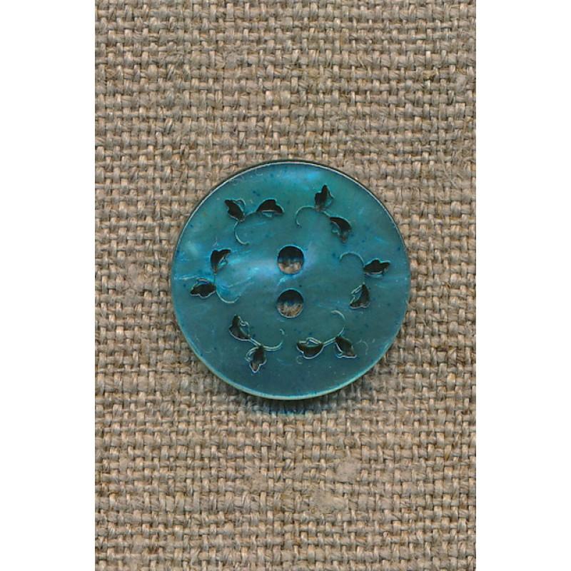 Knap m/hulmønster, lys petrol, 20 mm.-35