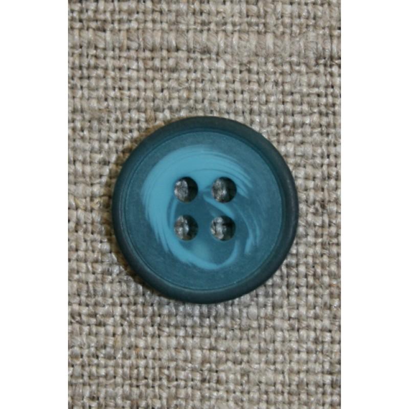 Petrol meleret 4-huls knap, 15 mm.-31