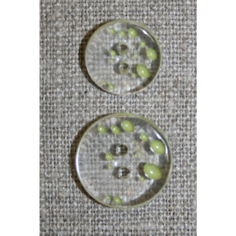 2-huls knap m/prikker klar/lys lime i 2 str.