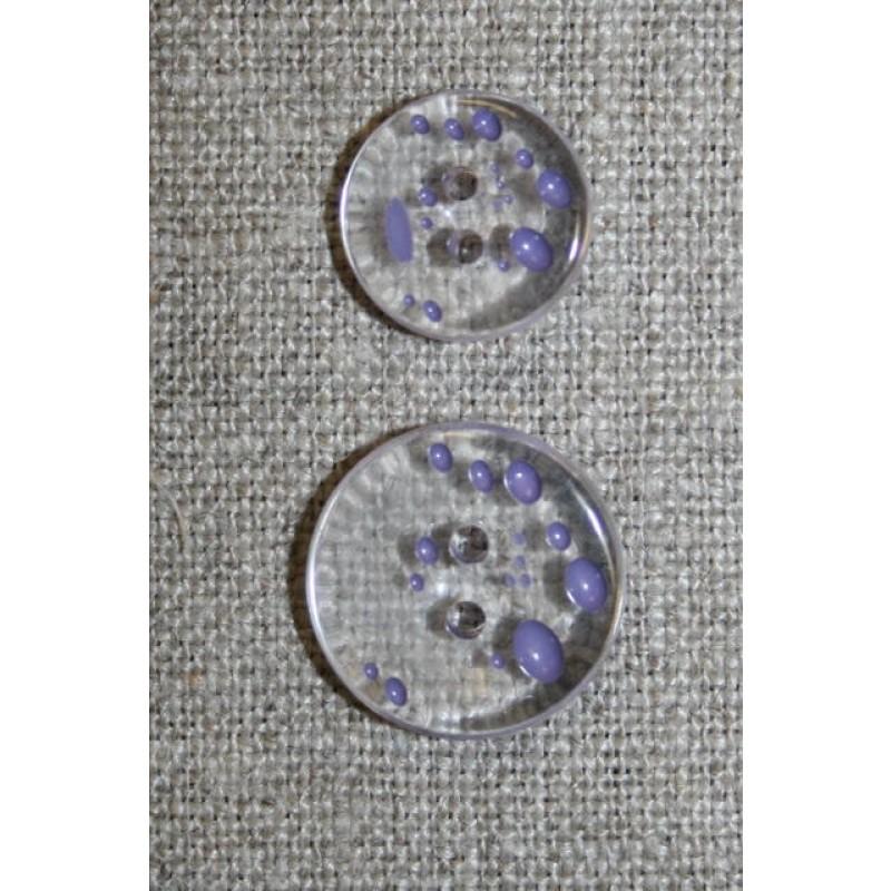 2-huls knap m/prikker klar/lyselilla i 2 str.