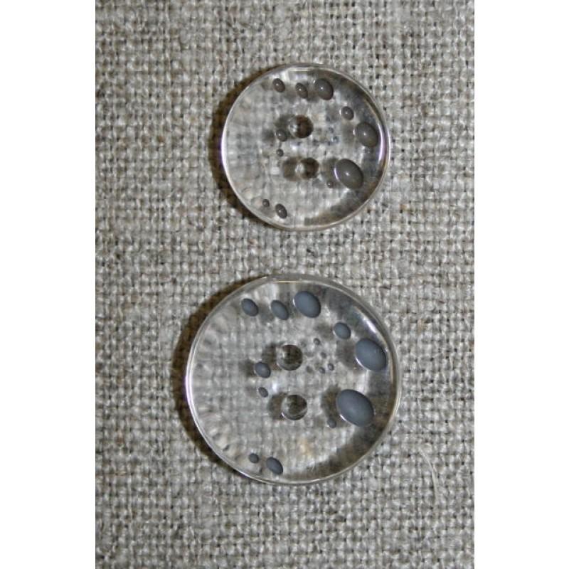 2-huls knap m/prikker klar/grå-brun i 2 str.-31