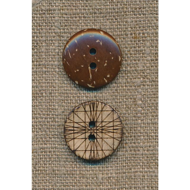Kokos knap m/streger, 20 mm.-33