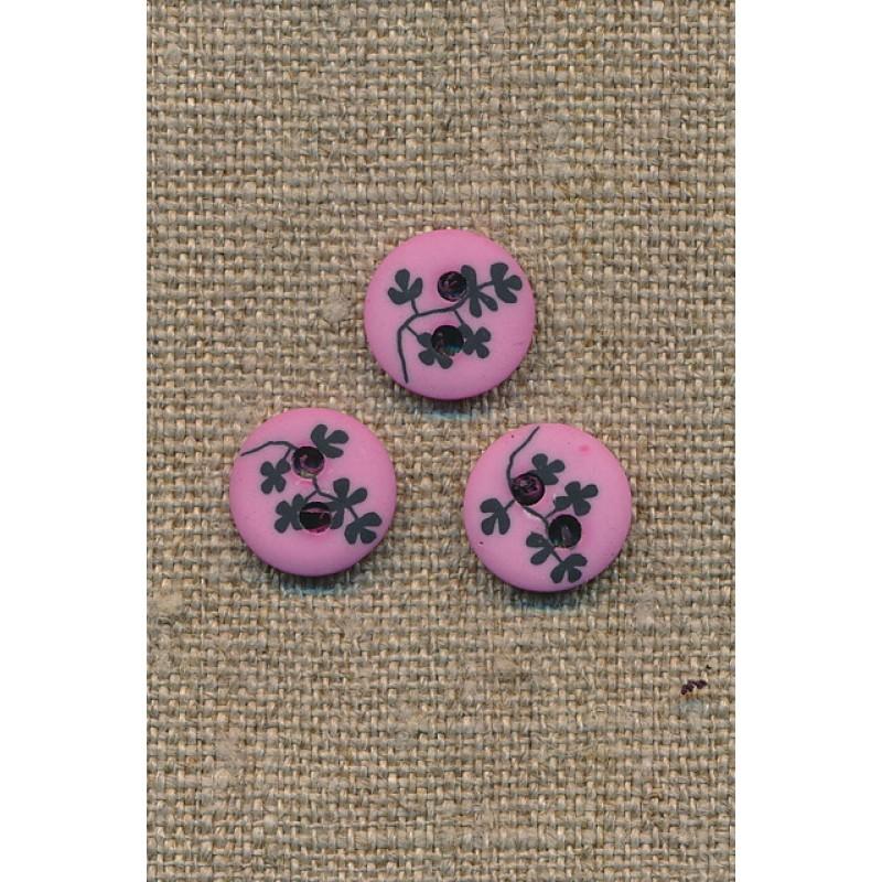 Pink/rosa 2-huls knap m/sorte grene, 13 mm.-33