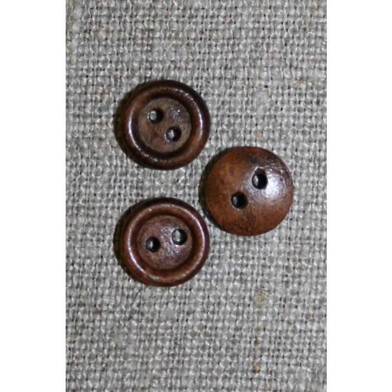 Lille brun 2-huls træ-knap, 10 mm.