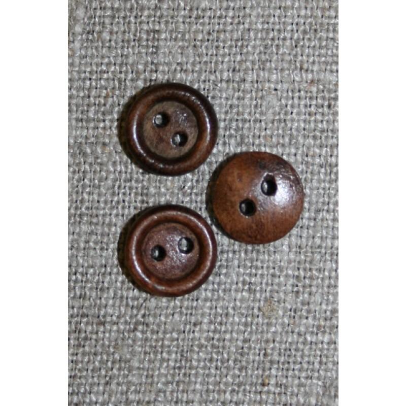 Lille brun 2-huls træ-knap, 11 mm.-33