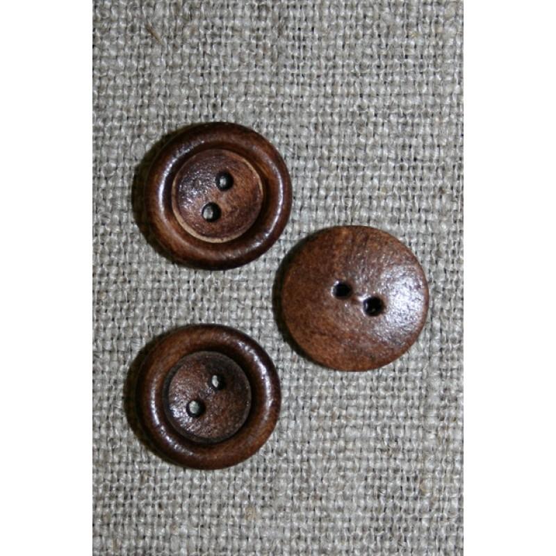 Lille brun 2-huls træ-knap, 13 mm.-33