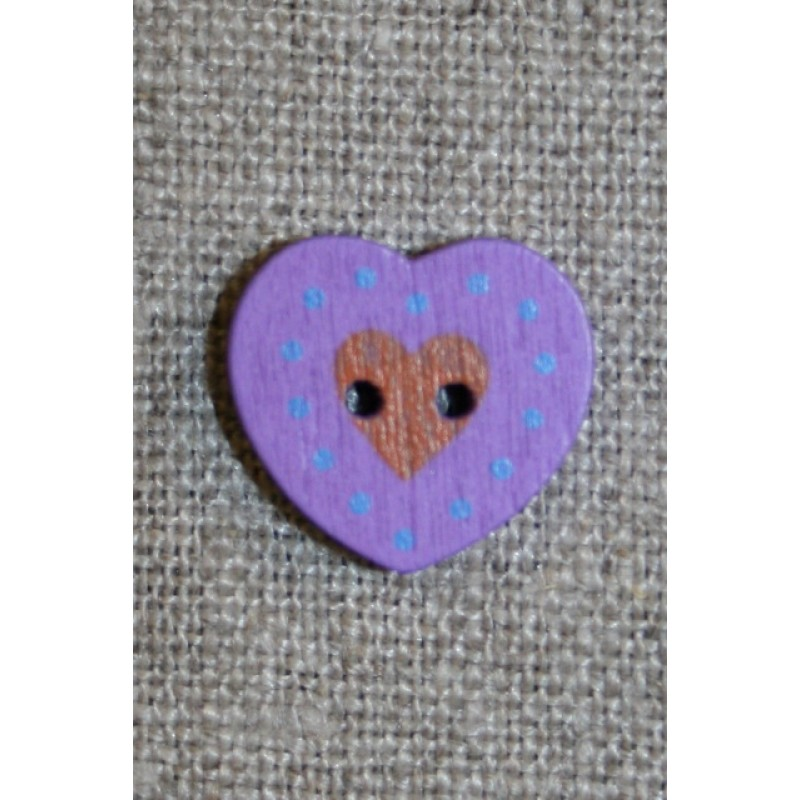 Hjerte træ-knap lilla, 18 mm.-33
