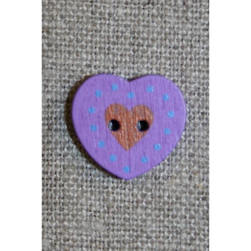 Hjerte træ-knap lilla, 18 mm.
