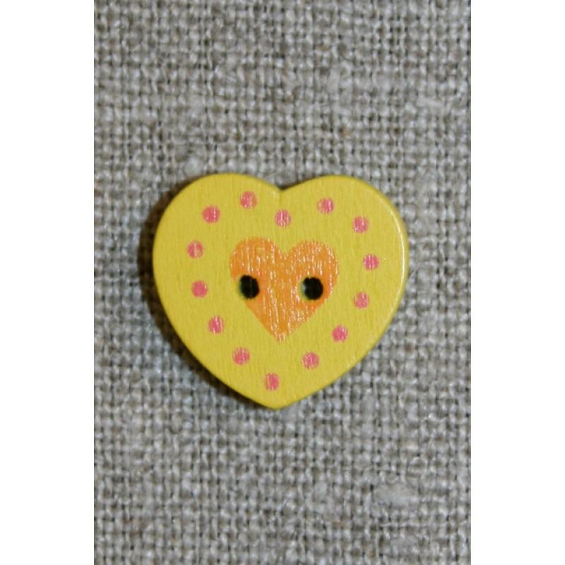Hjerte træ-knap gul, 18 mm.