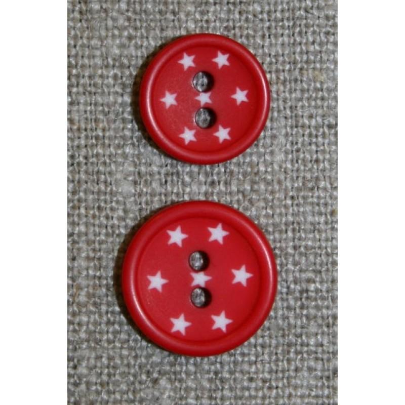 2-huls knap m/stjerner, rød-31