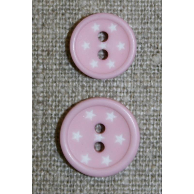 2-huls knap m/stjerner, lys rosa-31