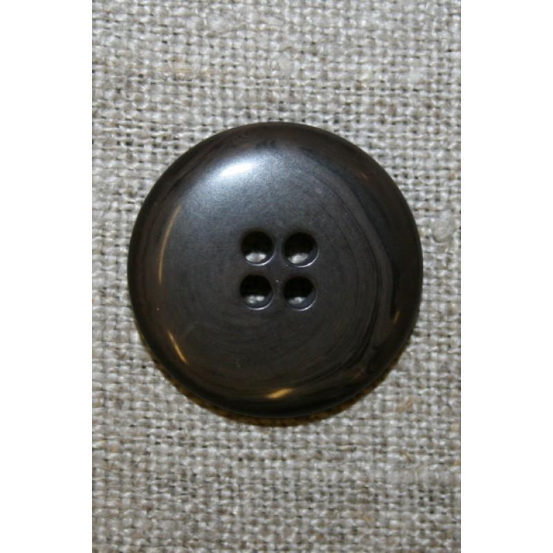 4-huls knap meleret grå-brun/sort, 22 mm.-33