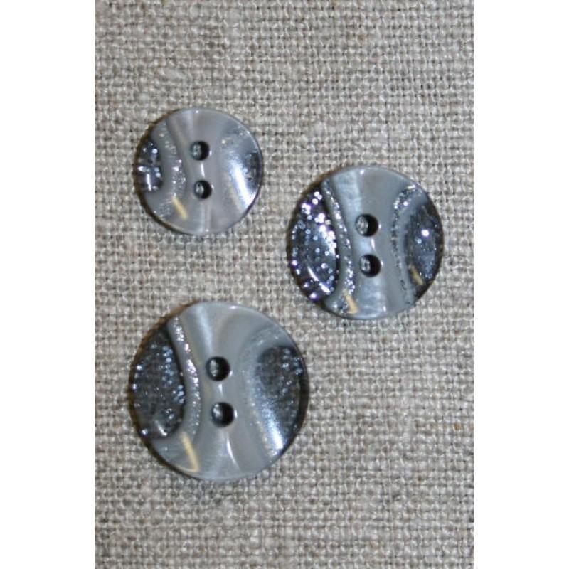 2-huls knap transperant m/glimmer/grå i 3 str.-31