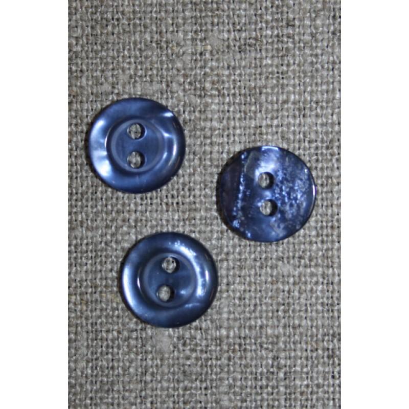 Blank 2-huls knap blå-lilla, 11 mm.