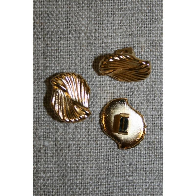 Guld-knap m/snoede riller-35