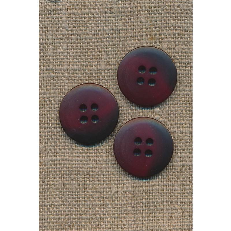 4-huls knap meleret mørk rød/bordeaux, 18 mm.