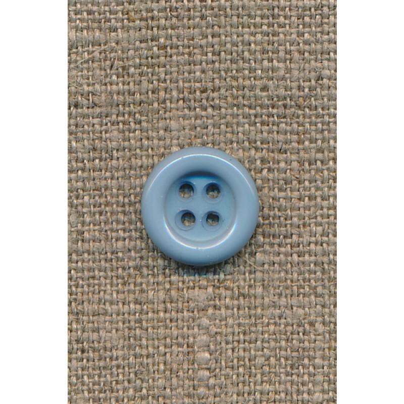 4-huls knap lys støvet blå, 14 mm.-35