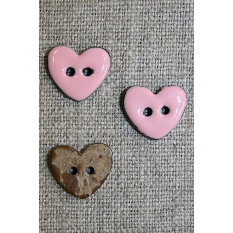 Kokos-knap m/emalje, hjerte lyserød 15 mm.-31