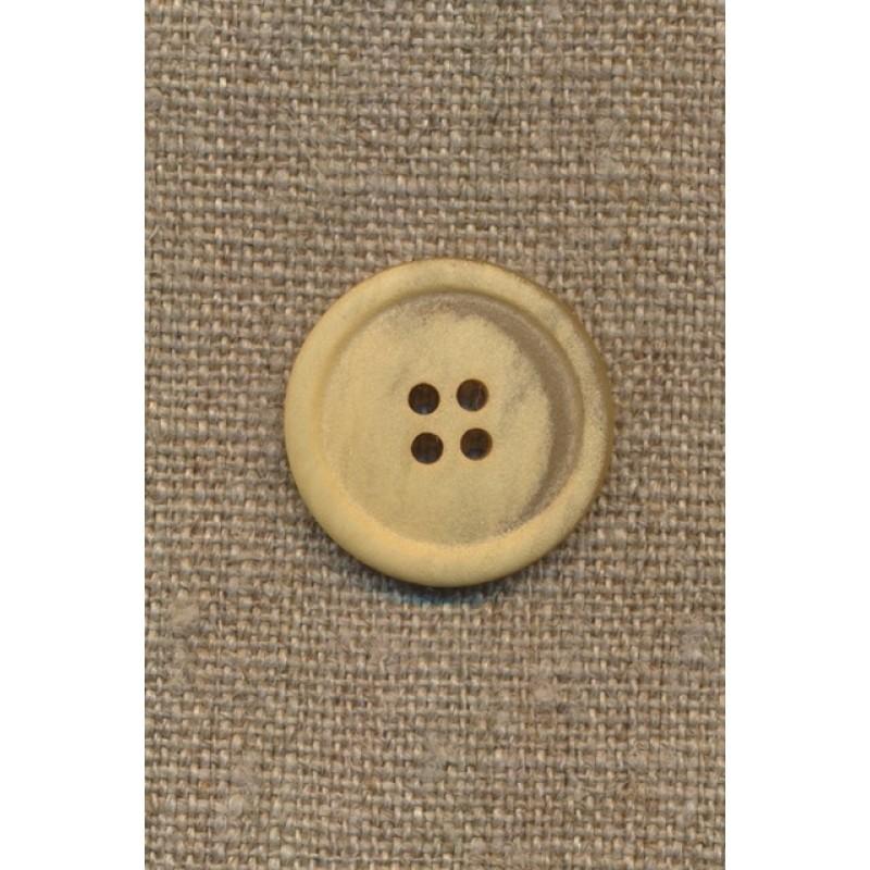 4-huls knap meleret creme/lysegul, 23 mm.-31