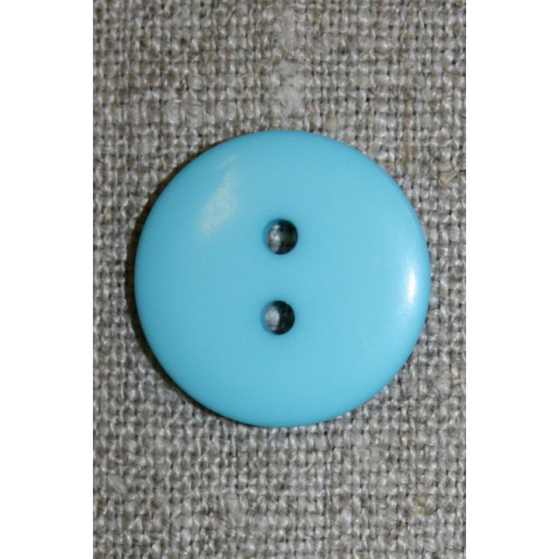 2-huls knap lys turkis, 20 mm.
