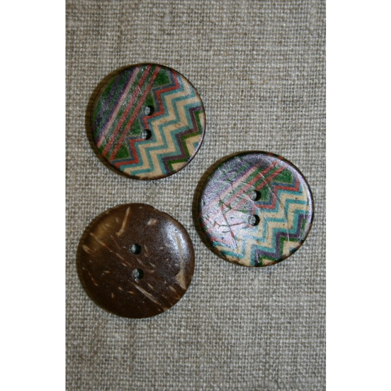 Kokosknap m/mønster 25 mm.