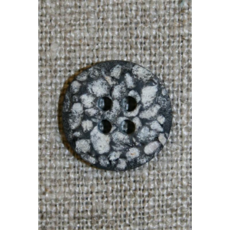 4-huls knap i sten-look sort/grå/hvid, 15 mm.-33
