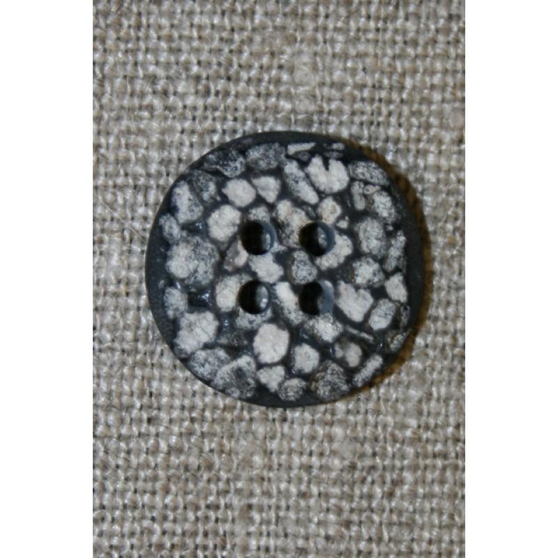 4-huls knap i sten-look sort/grå/hvid, 18 mm.-35