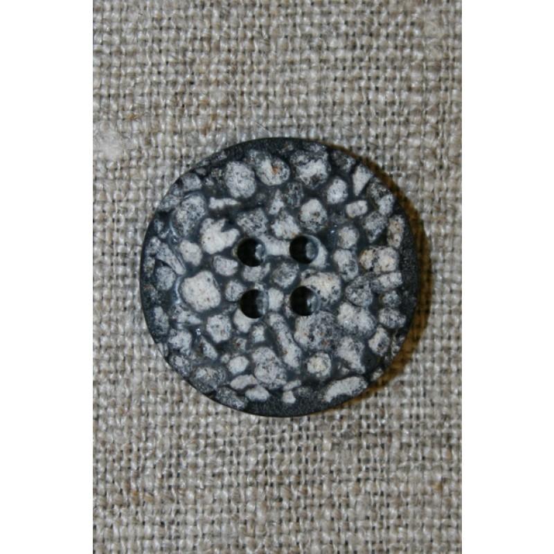 4-huls knap i sten-look sort/grå/hvid, 22 mm.-31