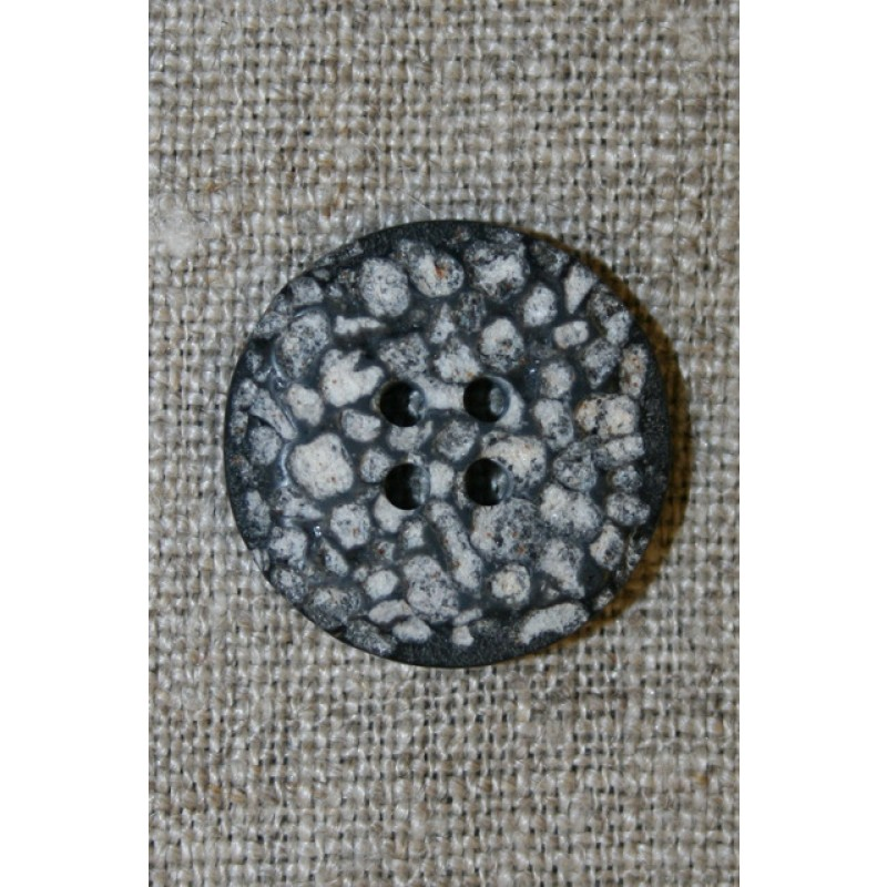 4-huls knap i sten-look sort/grå/hvid, 22 mm.