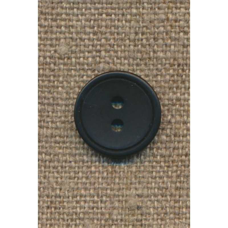 2-huls knap m/kant sort, 15 mm.-31