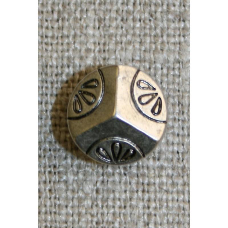 Lille knap 3 delt og mønstret, gl.sølv, 11 mm.