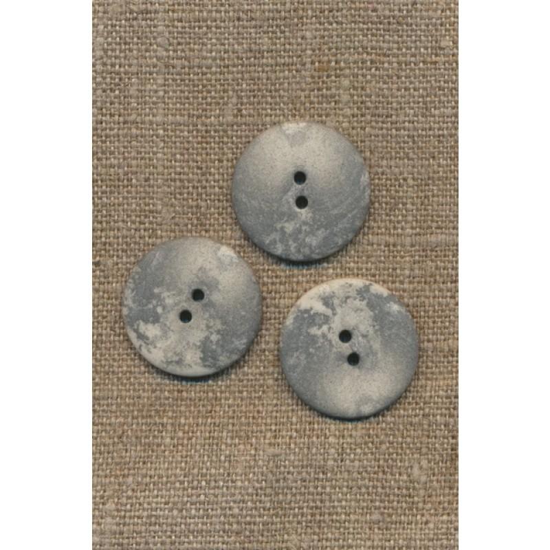 2-huls knap lysegrå i sten-look, 23 mm.-31