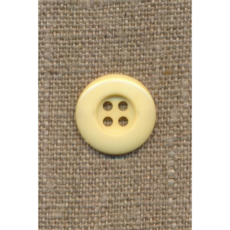 Lys gul 4-huls knap, 18 mm.