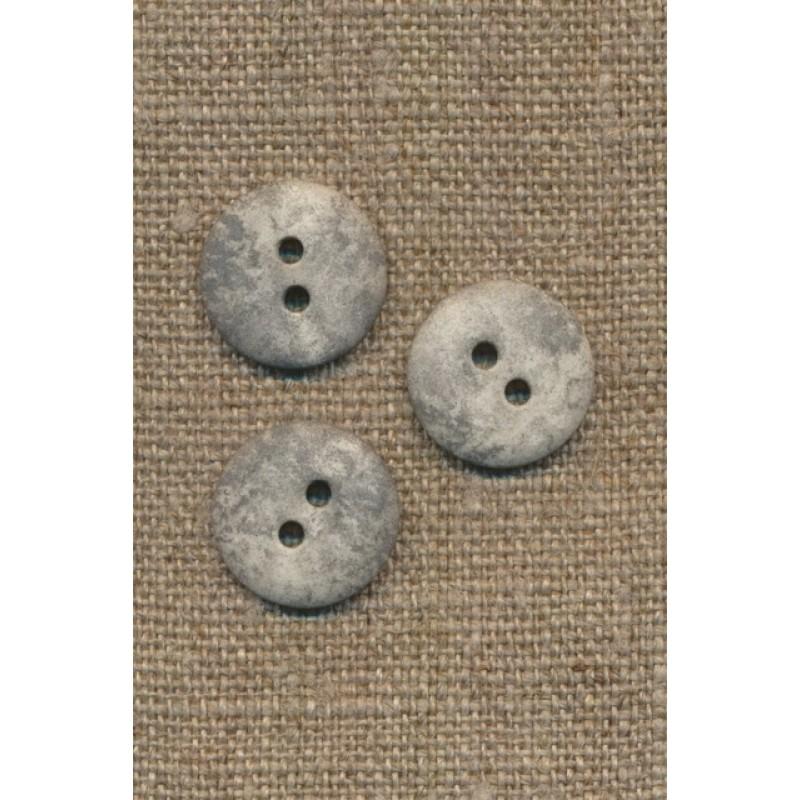 2-huls knap lysegrå i sten-look, 15 mm.-31