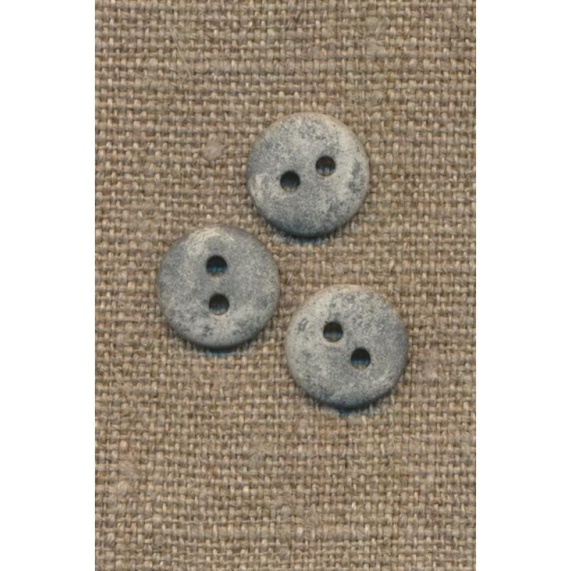 2-huls knap lysegrå i sten-look, 12 mm.