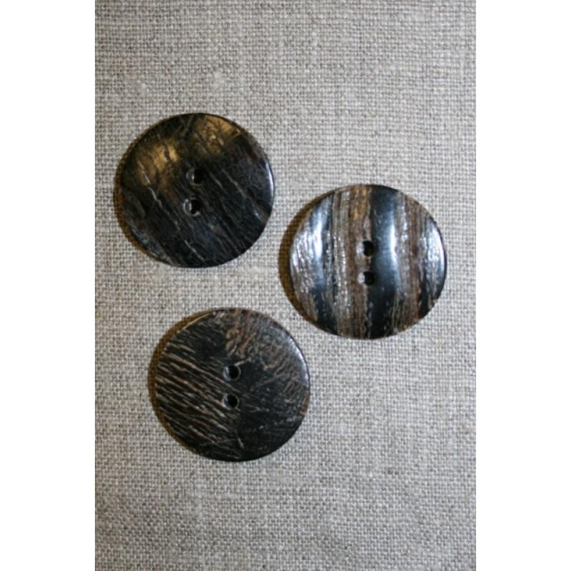 Horn-knap rund 2 huls i brun og sort, 30 mm.-33