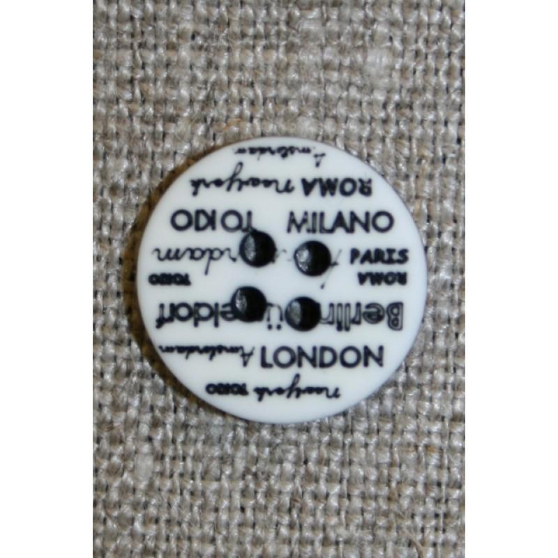 4-huls knap knækket hvid med tekst, 15 mm.-31