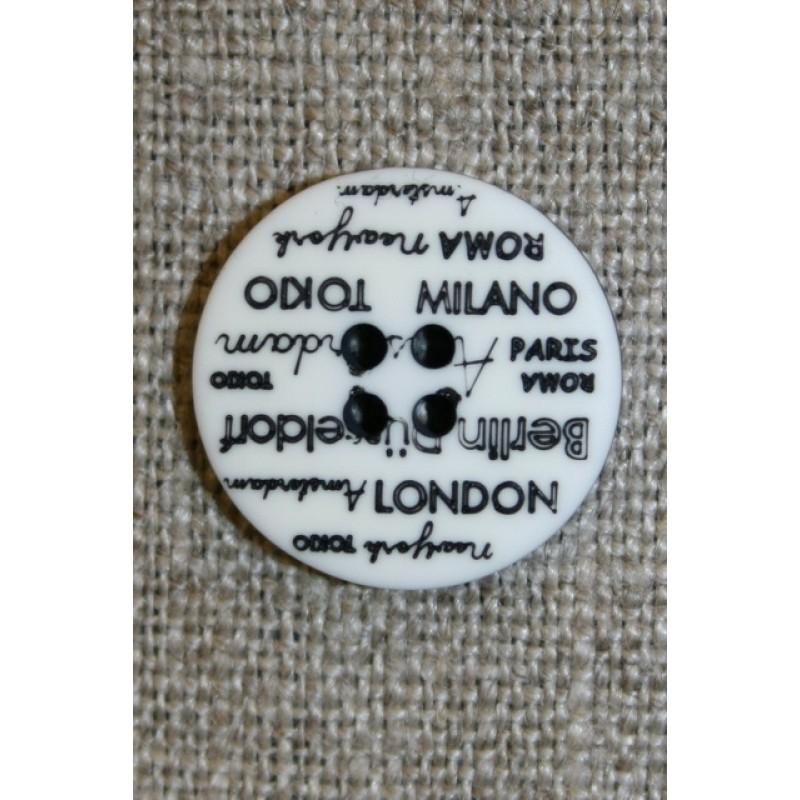 4-huls knap knækket hvid med tekst, 18 mm.-32